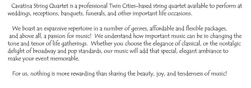 Cavatina String Quartet Minneapolis About