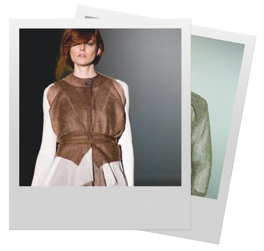 Dos fotos polaroid con modelo de la colección de moda de Yiyí Gutz
