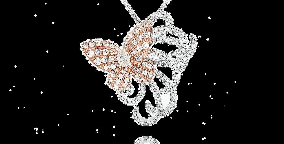 """""""Butterfly"""" Diamond Pendant in 18K White & Rose Gold"""