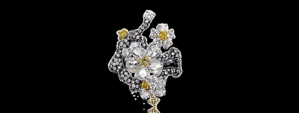"""Winter Melody"" Rose-cut Diamond Ring in 18K White & Black Gold"