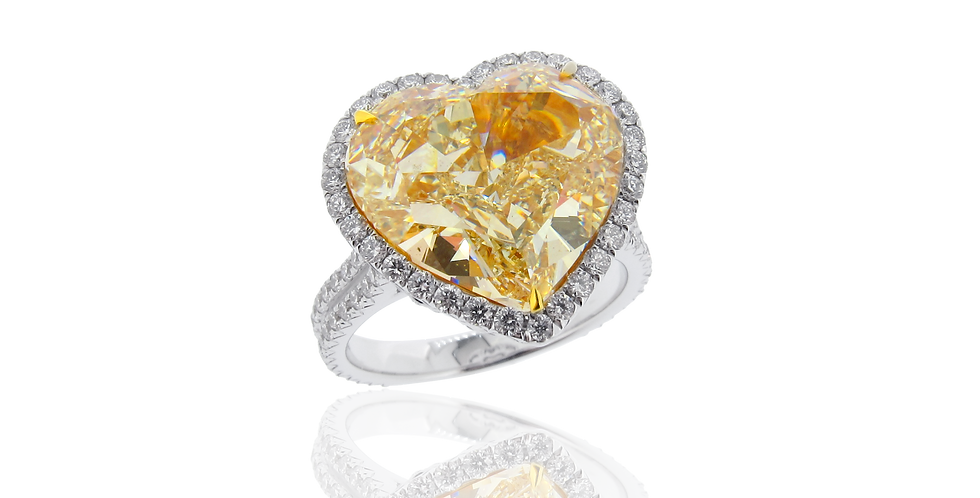Heart Shaped Diamond Ring in 18K White & Yellow Gold