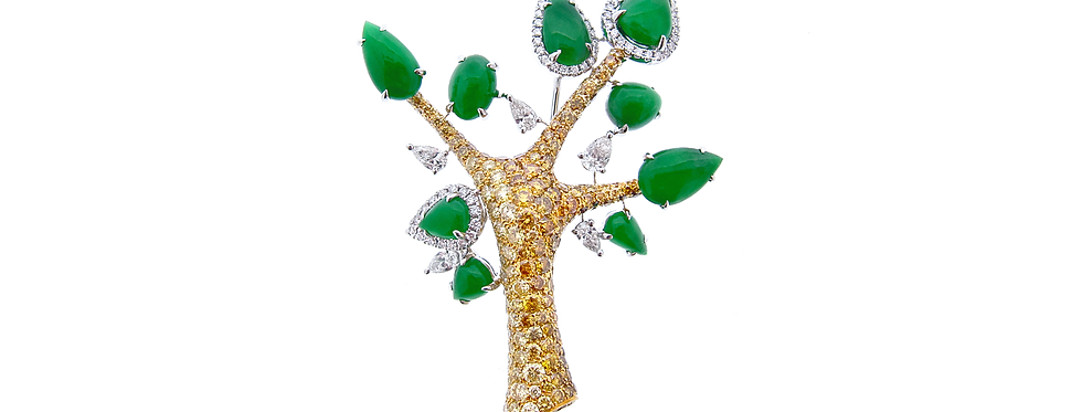 Jade Tree Brooch with Yellow Diamonds in 18K Yellow & White Gold