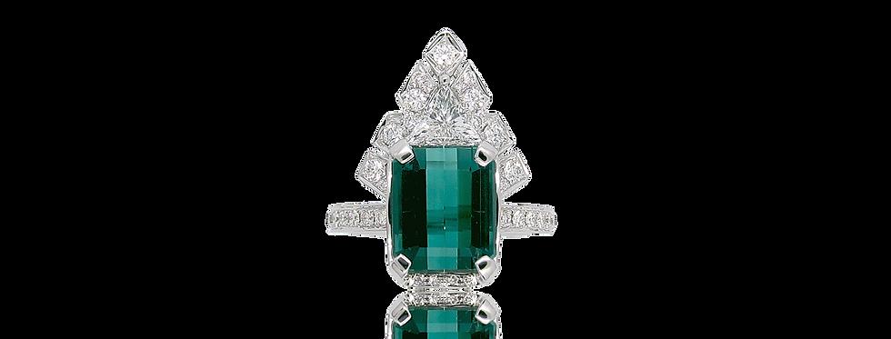 Green Tourmaline Ring in 18K White & Black Gold