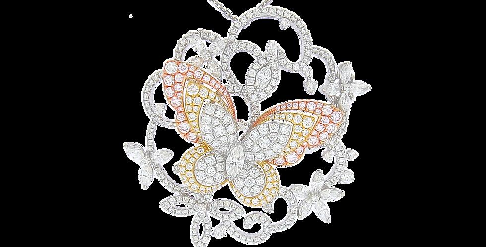 """""""Butterfly"""" 18K白色,玫瑰色和黃色黃金鑽石吊墜"""