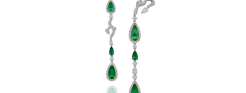 """Emerald Willow"" Emerald Earrings in 18K White Gold"