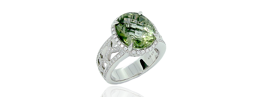 Green Tourmaline Ring in 18K White Gold