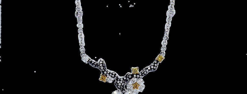 """Winter Melody"" Rose-cut Diamond Pendant Necklace in 18K White & Black Gold"