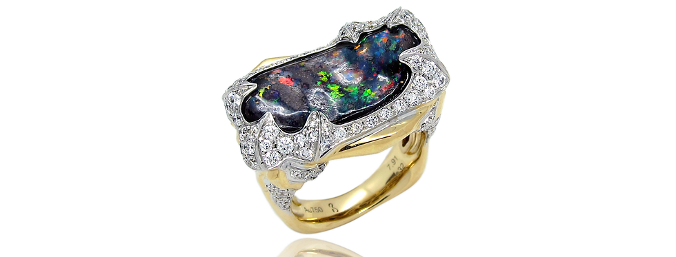 Black Opal Ring in 18K Yellow & White Gold