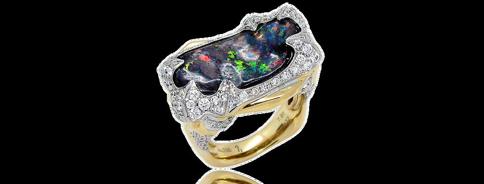 18K白色黃金 黑色蛋白石戒指