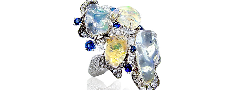 Opal Ring with Sapphires and Rose-cut Diamonds in 18K White & Black Gold