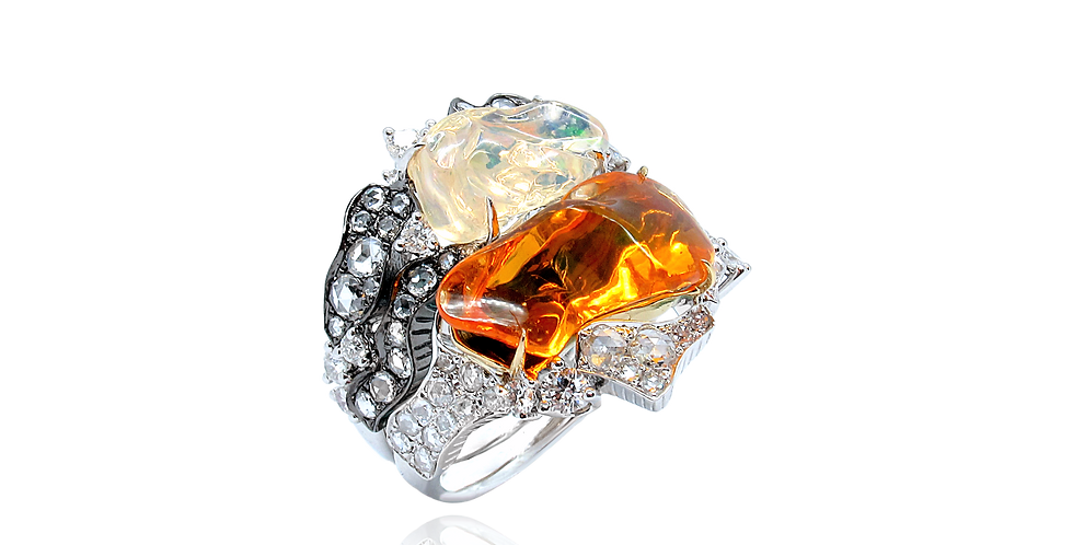 """""""Lava"""" Mexican Fire Opal Stackable Ring 18K Black& White Gold"""