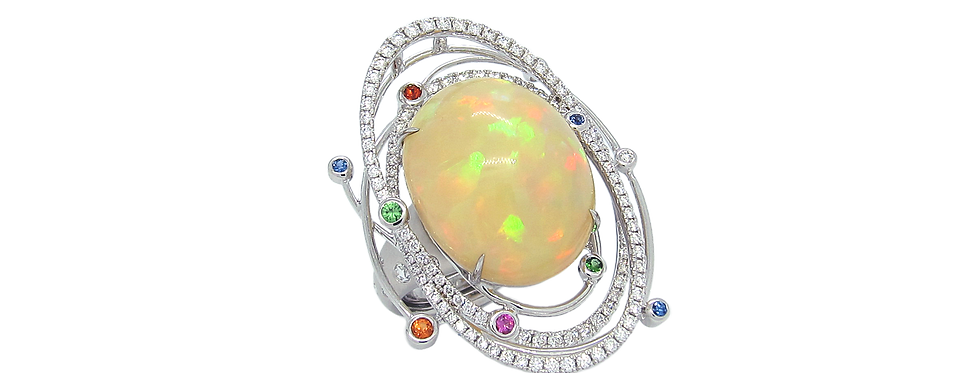 Opal Ring with Coloured Sapphires in 18K White Gold