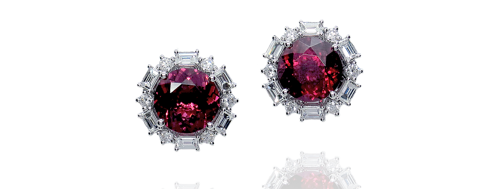 Rhodolite Garnet Earrings in 18K White Gold