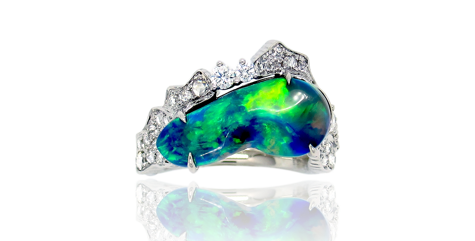 Black Opal Ring in 18K White Gold