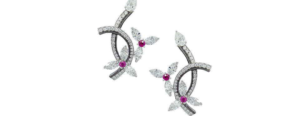 Marquise Diamond Floral Earrings with Pink Sapphires in 18K White & Black Gold