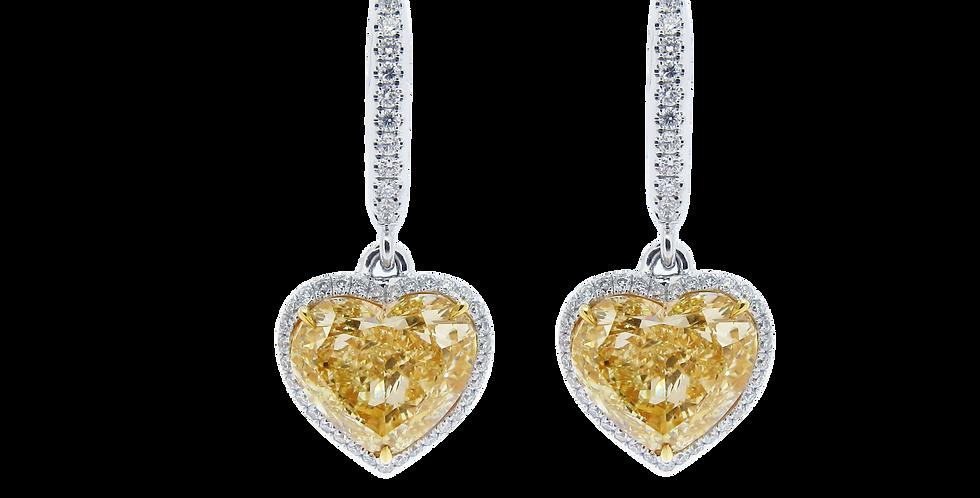 Heart Shaped Diamond Earrings in 18K White & Yellow Gold