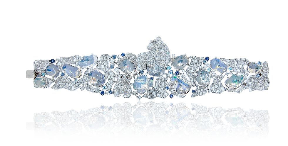"""Polar"" Water Opal Bracelet in 18K White & Black Gold"