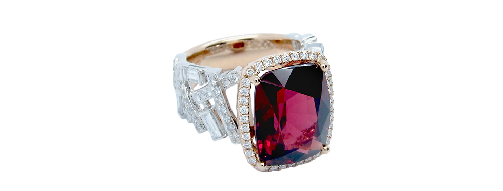 Rhodolite Garnet Ring in 18K White & Rose Gold