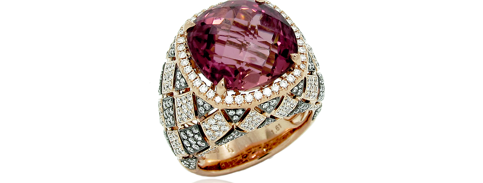 Pink Tourmaline Ring in 18K Rose & Black Gold
