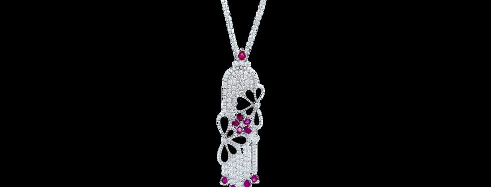 Ruby & Onyx Diamonds Necklace in 18K White Gold