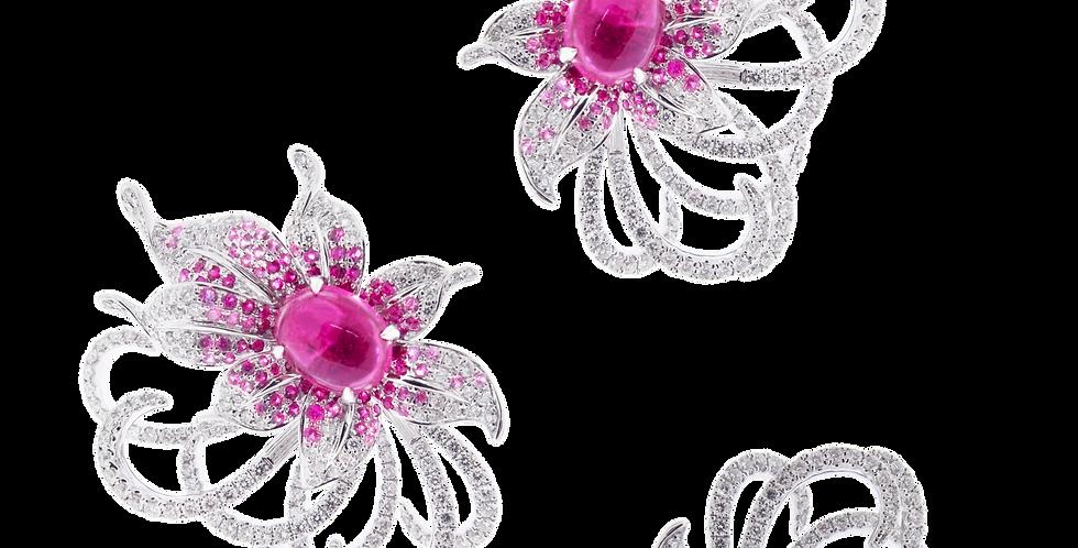 """Secret Garden"" Rubellite Floral Ring with Diamonds in 18K White Gold"