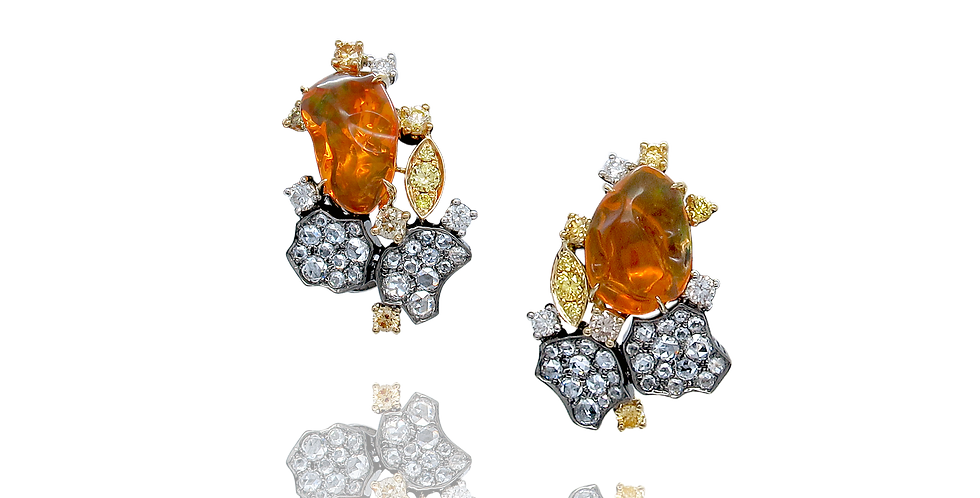 """Lava"" Mexican Fire Opal Earrings 18K Black, Yellow & White Gold"