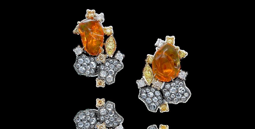 """Lava"" 18K黑色,黃色和白色黃金墨西哥火蛋白石耳環"
