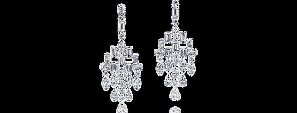 Chandelier Diamond Earrings in 18K White Gold