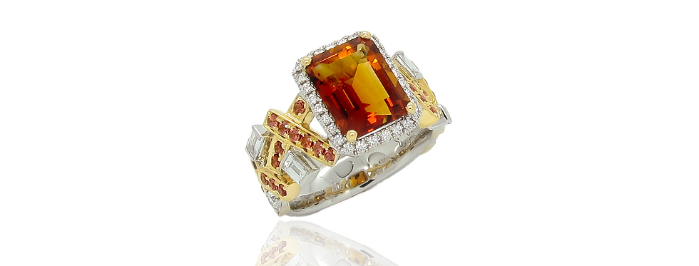 Citrine Ring with Brown Sapphire in 18K White & Yellow Gold