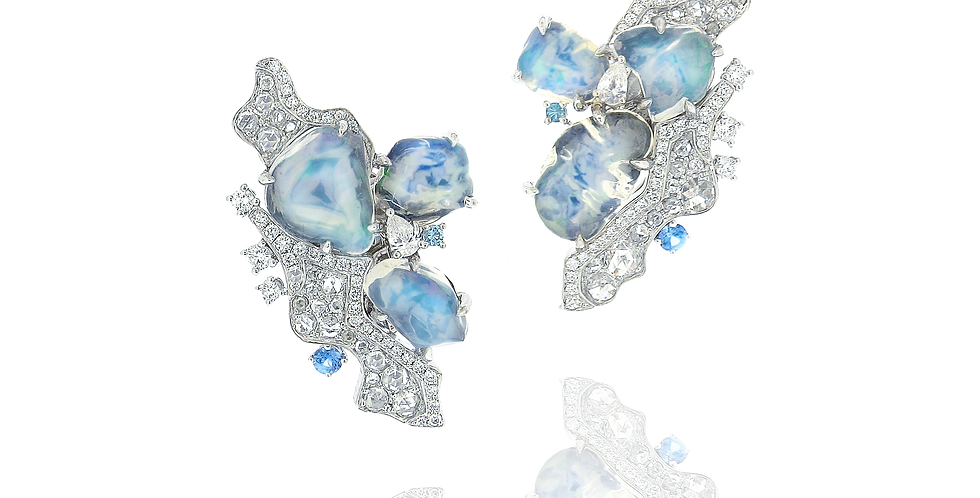 """Polar"" Water Opal Earrings in 18K White & Black Gold"