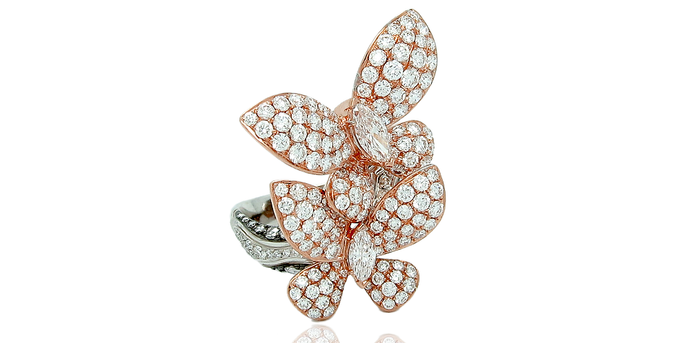 """""""Butterfly"""" Diamond Ring in 18K White, Black  Rose Gold"""