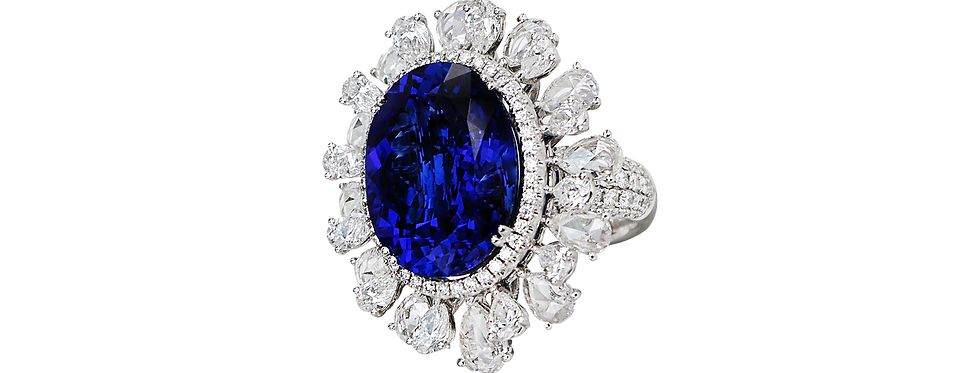 Tanzanite Ring with Rose-cut Diamonds in 18K White Gold