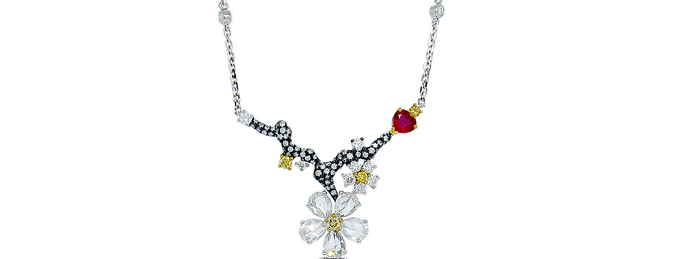"""""""Winter Melody"""" Ruby Pendant Necklace in 18K White & Black Gold"""