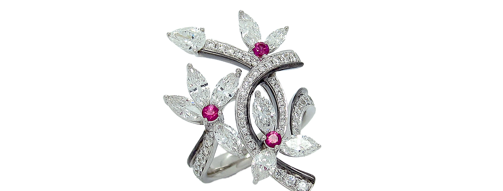 Marquise Diamond Floral Ring with Pink Sapphires in 18K White & Black Gold