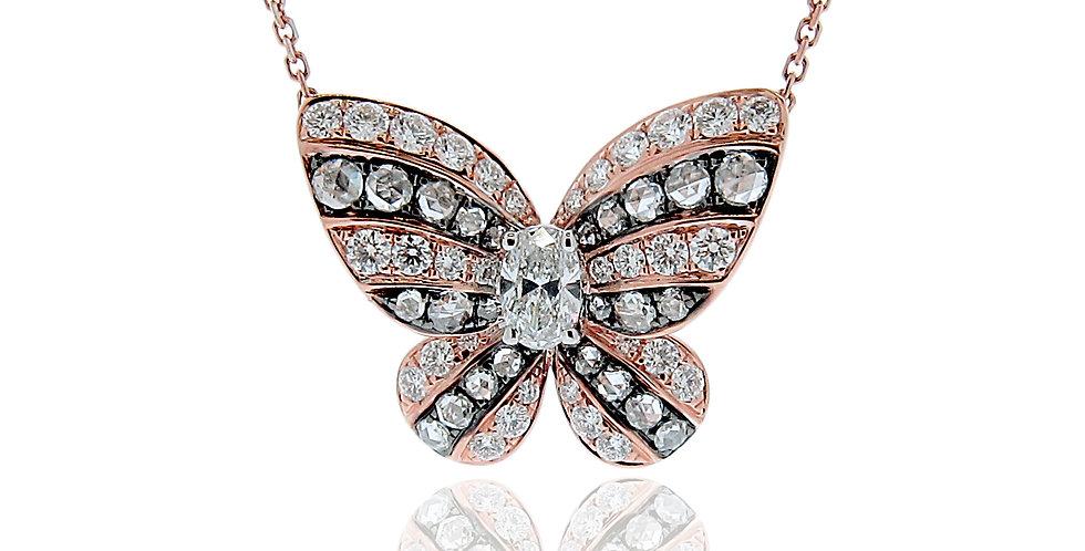 """""""Butterfly"""" 18K玫瑰色和黑色黃金鑽石吊墜"""