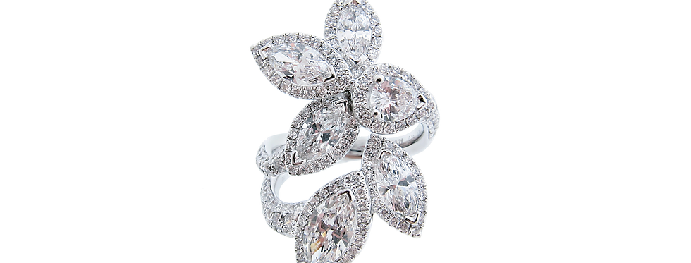 Fancy Shaped Diamond Floral Ring in 18K White Gold