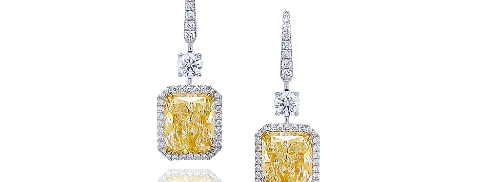 Radiant-cut Diamond Earrings in 18K White & Yellow Gold