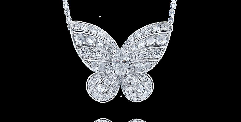"""Butterfly"" 18K白色黃金鑽石吊墜"