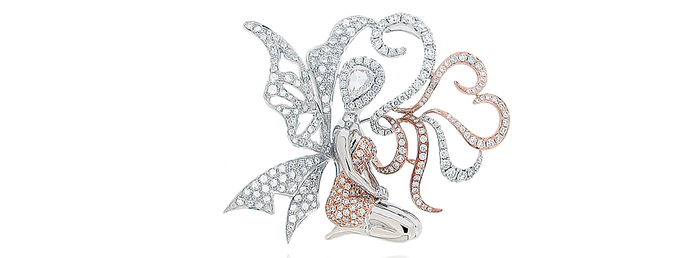 """ Lily the Fairy"" Diamond Brooch in 18K White & Rose Gold"