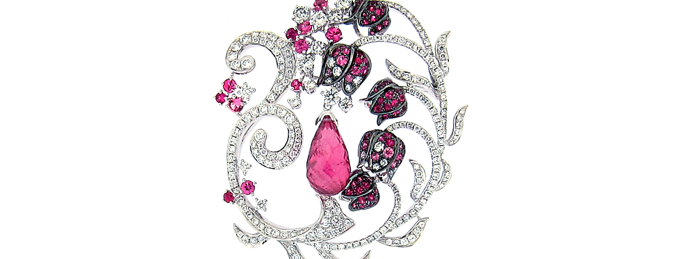 """Lily the Fairy"" Rubellite Floral Pendant in 18K White,Rose & Black Gold"