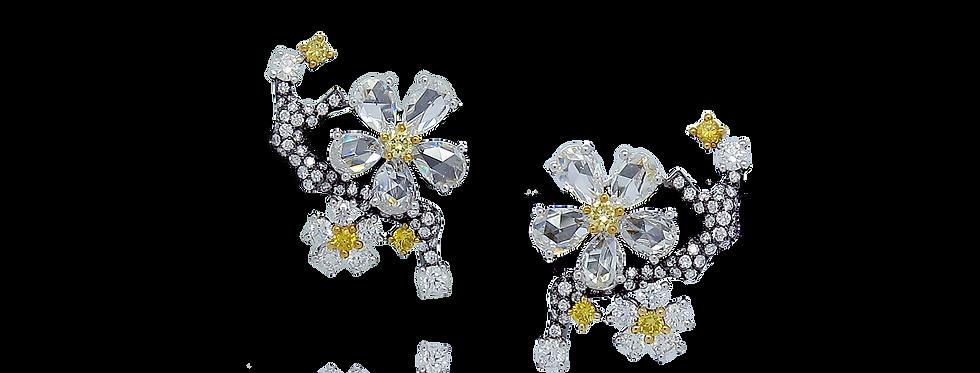 """""""Winter Melody"""" Rose-cut Diamond Earrings in 18K White & Black Gold"""