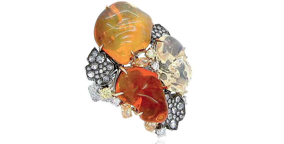 """Lava"" Mexican Fire Opal Ring 18K Black, Yellow & White Gold"
