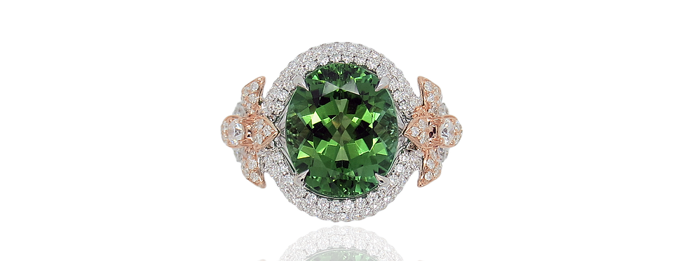 Green Tourmaline Floral Ring in 18K White Gold