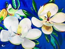 Magnolia on Blue Ground