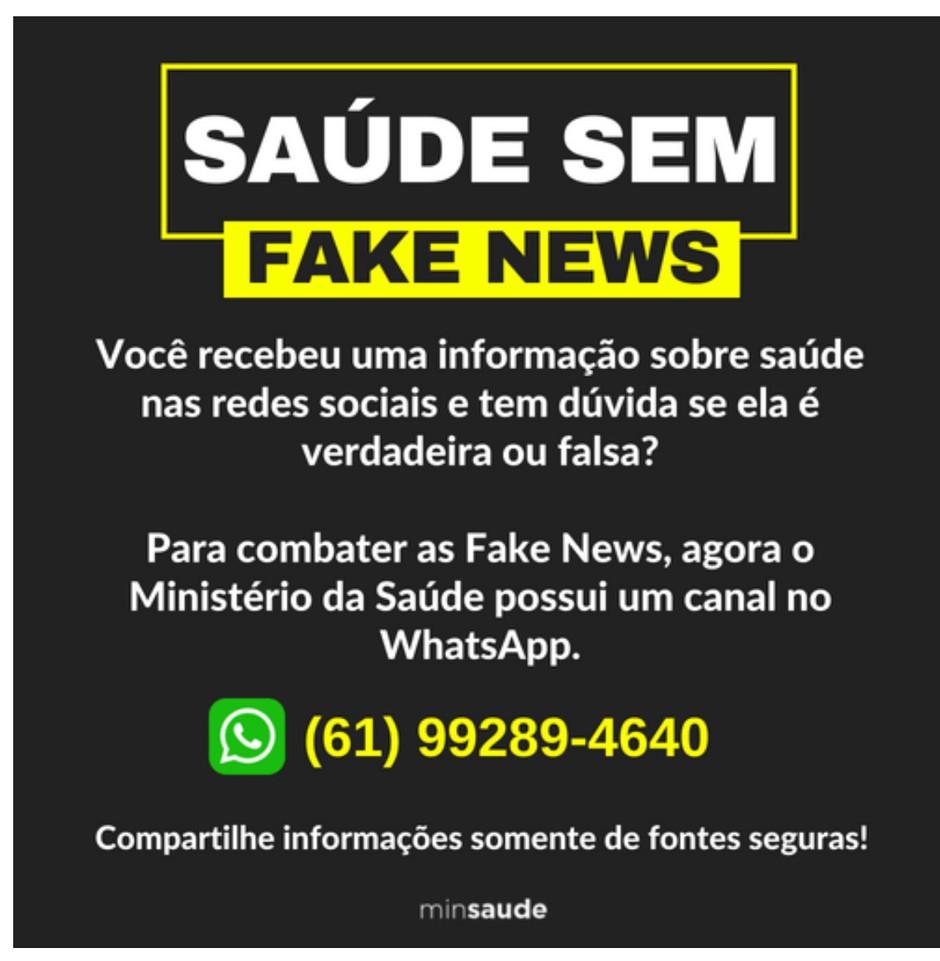 Ministério da Saúde combate notícias falsas