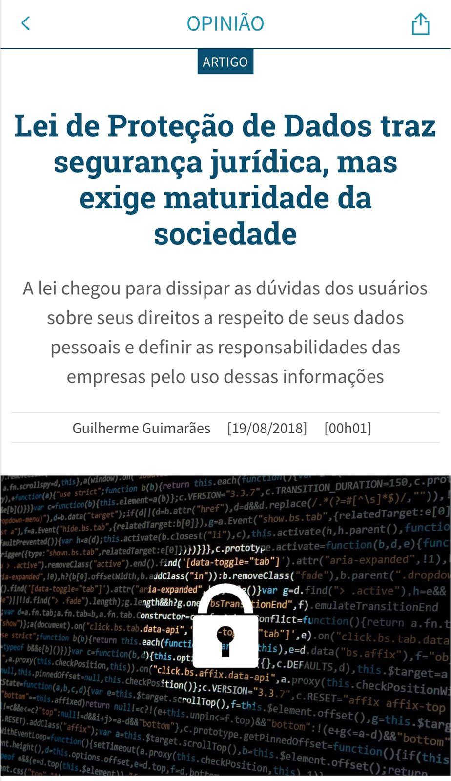 Lei de proteção de dados exige maturidade da sociedade