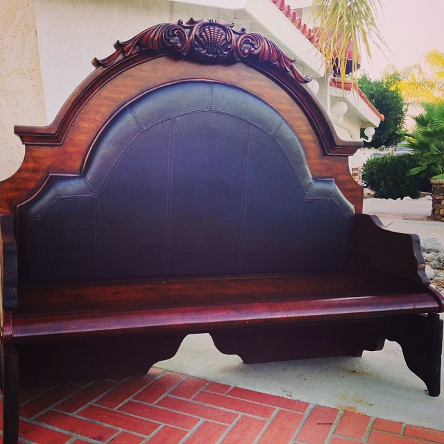 vintage pew style bench