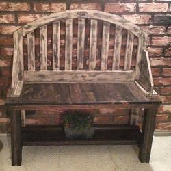rustic porch bench