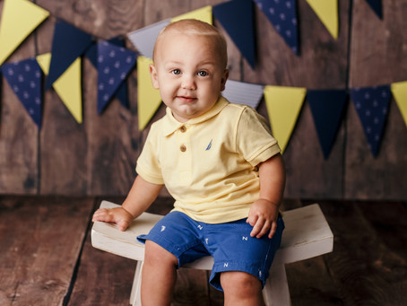 Henry's First Birthday Milestone Session - With Jaemie Hillbish Photography .