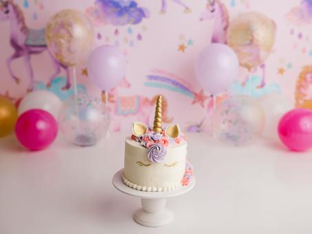Layla's 1st Birthday Unicorn Cake Smash - With Jaemie Hillbish Photography.